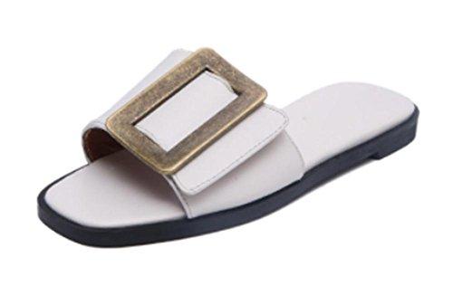 Platz Schnalle Sandalen vorne offen flache Schuhe der Wortsommerfrauen Sandalen und Pantoffeln ziehen White