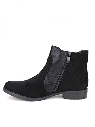 Cendriyon, Bottine bi matière KIALO Mode Chaussures Femme Noir