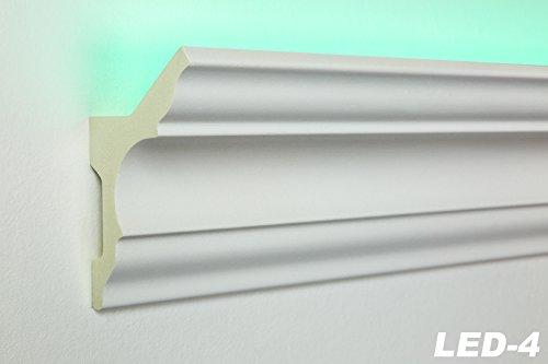 10 Meter LED Profil, PU Stuckleiste indirekte Beleuchtung stoßfest 80x48, LED-4