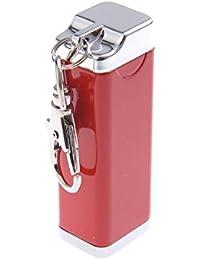 Mini cendrier / Cendrier de poche / Cendrier portable, fait en alliage de zinc, avec un mousqueton, de couleur rouge, 020-01