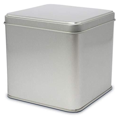 TRIOSK Blechdose mit Deckel, Leere Metall Dose, eckig 10,0 x 10,0 x 10,0 cm groß, Silber,...
