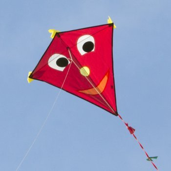 Einleiner-Drachen - Happy Eddy RED - für Kinder ab 3 Jahren - Abmessung: 67x70cm - inkl. 80m Drachenschnur und Schleifenschwanz