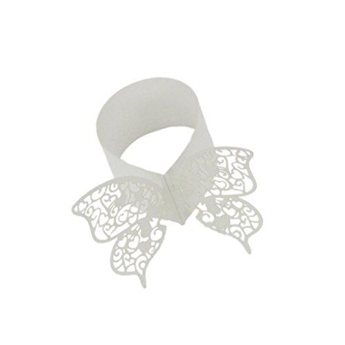 Nouveauté 50pcs Ronds de Serviette Papillon Découpé Anneaux Porte-serviette Décor Table pour Noël - Blanc