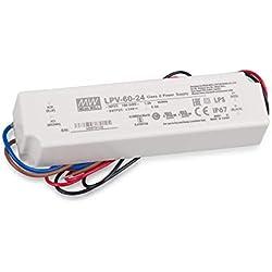 Fuente de alimentación LED transformador Mean Well LPV-60-24fuente de alimentación conmutada, 24V / 2,5A / 60W IP67LED transformador para iluminación LED