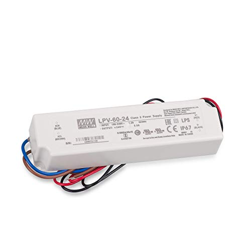 Mean well lpv-60-24 60w white power supply unit - power supply units (60 w, 90 - 264, 8%, 47 - 63, active, 50 ms)