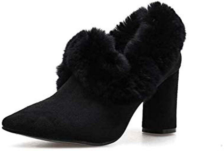 Mamrar Les Femmes Pompe de Peluche Cheville Bottie 8cm Segment Talon Talon Segment Pointu Orteil Pur Couleur Partie Robe Chaussures... 33bd74
