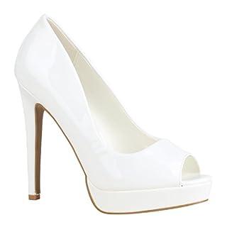 Damen Schuhe Pumps Spitze High Heels Peep-Toes Stiletto 155886 Weiss Lack 39 Flandell