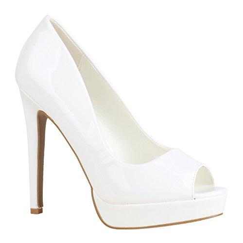 Stiefelparadies Damen Schuhe Pumps Spitze High Heels Peep-Toes Stiletto 155886 Weiss Lack 37 Flandell