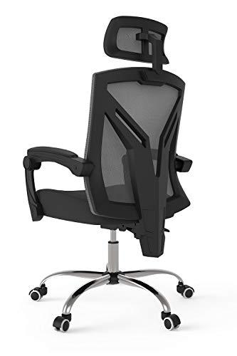 Hbada ergonomischer Bürostuhl mit Kopfstütze Drehstuhl Computerstuhl Chefsessel mit Verstellbarer Kopfstütze ergonomische Rückenlehne Höhenverstellung Neigungsverstellung Schwarz
