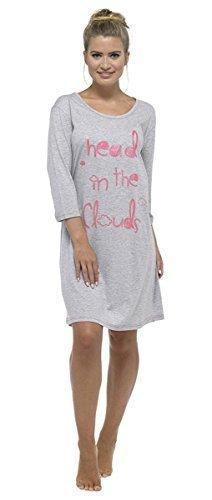 Femmes En Coton Manches Longues imprimé chemise de nuit Robe de nuit Gris