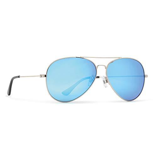 INVU Unisex Polarisierte Sonnenbrille Aviator Klassisch B1411 Silber (B1411E), Linse Blauer Spiegel