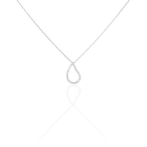 HISTOIRE D'OR - Collier Or Blanc Goutte et Diamant 42cm - Femme - Or blanc 375/1000