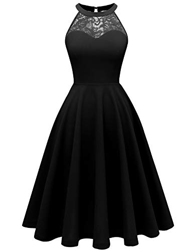bbonlinedress Damen Cocktailkleid Abendkleider Rockabilly Retro Vintage Neckholder Black M Neckholder Petticoat
