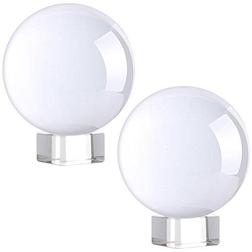 Neewer 2 piezas 3 pulgadas /8 cm Bola de cristal clara con soporte de