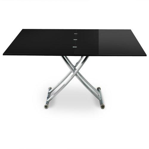 Menzzo B2219 Contemporain Carrera XL Table Basse Relevable Bois/Inox Laqué Noir 75/120 x 150/120 x 39/76,3 cm
