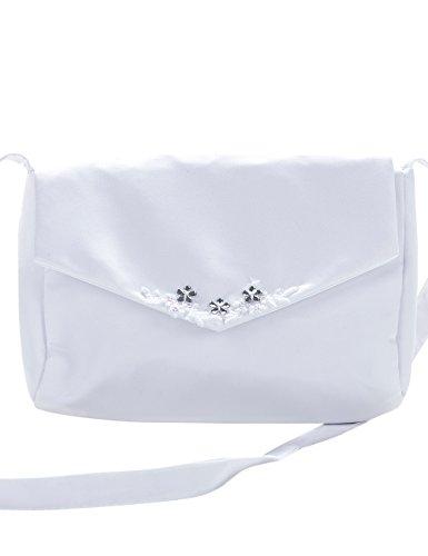 Princess Taufkleid Brauttasche aus Satin Weiß/Silber