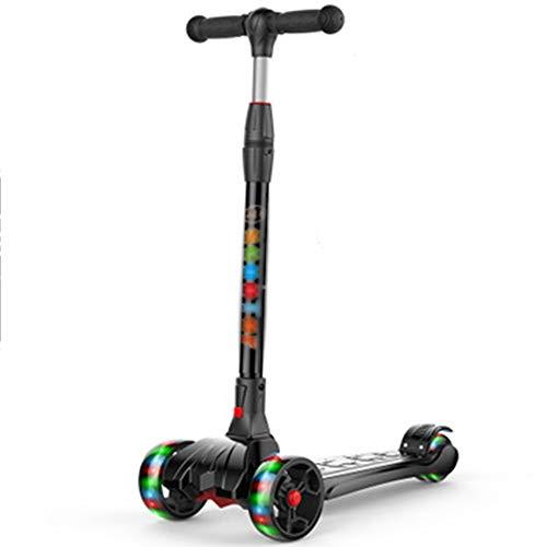 LJHBC Kickscooter 3-Rad-Roller Verstellbarer Lenker Schwerkraftlenkung Mit LED-Licht PU-Rad Geeignet für Jungen und Mädchen 3-16 Jahre alt (Farbe : Schwarz) -