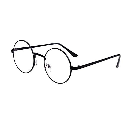Runde Unisex-Brille mit Retro-Metallrahmen, klare Gläser im Nerd-Look schwarz