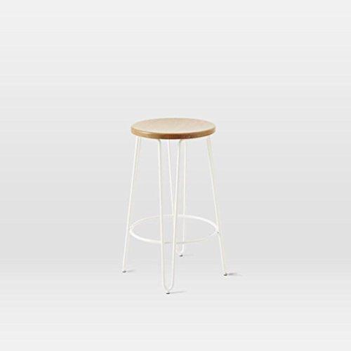 GHFDSJHSD Hocker Retro Massivholz Barhocker Eisen Tragrahmen Nein Stuhl zurück Einfach 60cm 73cm Passend für Zuhause Bar Frühstücksstuhl schwarz mit Weiß, 60cm -