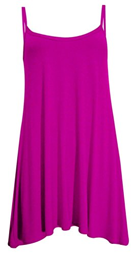 Chocolate Pickle ® Neue Frauen Plus Size Cami Strappy Plain Tops Lange Swing -Kleid 36