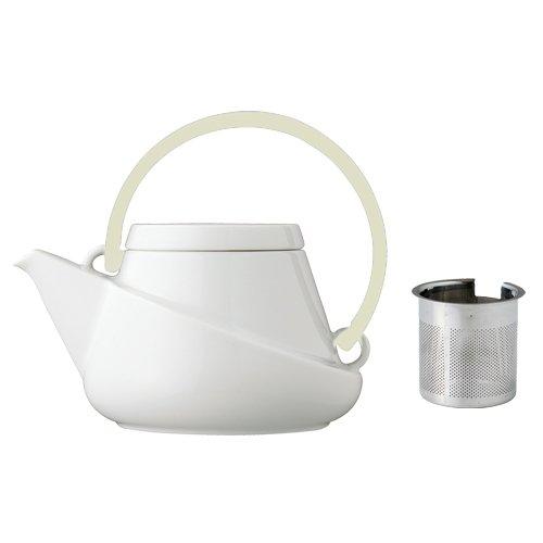 Designer Kanne RIDGE von KINTO Porzellan Weiß Griff in Hellbeige Teekanne inkl. Sieb hergestellt in Japan 750 ml groß