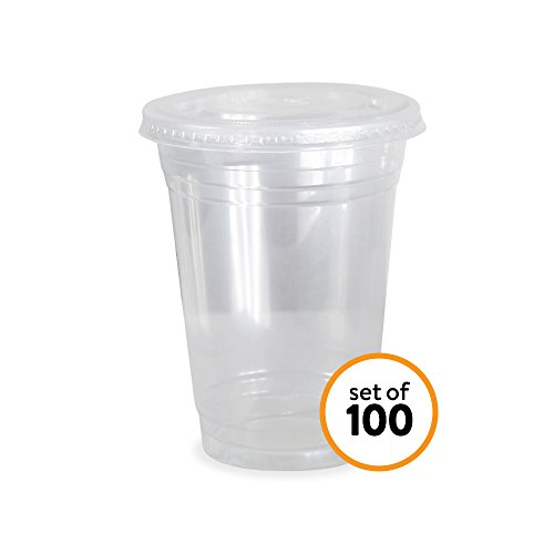 Yard Bucket (Disposable Clear Plastic Cups for Iced Coffee Bubble Boba Tea Smoothie (Flat Lid, 16 oz (0.47L)))