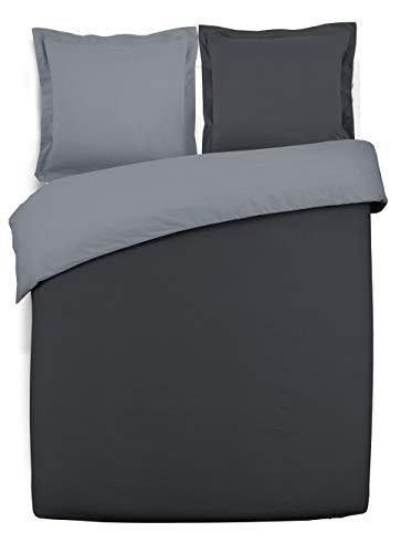 VISION Parure de couette 100% coton - 1 housse de couette 200x200 cm + 2 taies d'oreiller 65x65 cm gris et anthracite