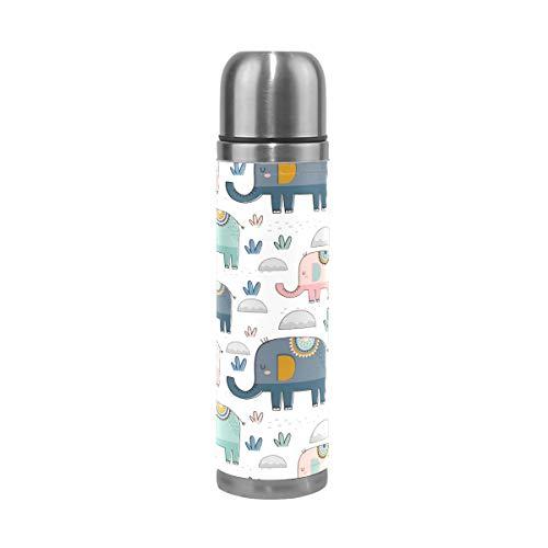Botella de agua de acero inoxidable con diseño de elefantes y cactus,...
