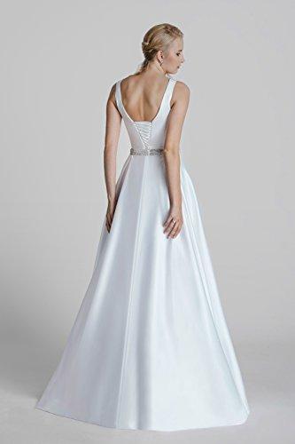 Brautkleid Vintage // Hochzeitskleid mit Strassgürtel (weiß) - 2