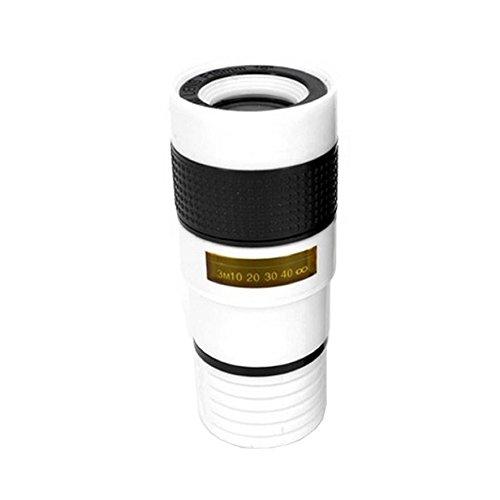 8X Handy Teleobjektiv, Universal 8X HD360 Clip-On Tele Teleskop Kamera Handy Zoom Objektiv für iPhone X / 8 7 Plus / 6S Samsung Galaxy S8 S7 Huawei und die meisten Android Smartphone (Weiß)