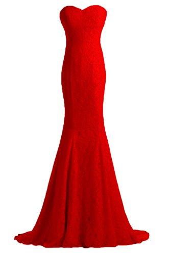 ivyd ressing robe dentelle Cœur de la découpe Mermaid Prom Lave-vaisselle robe robe du soir Rouge - Rouge