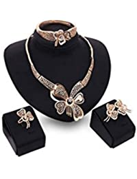 ELECTROPRIME Women Fashion Charm Gold Tone Jewelry Set Celebrity Necklace Bangle Ring Earring