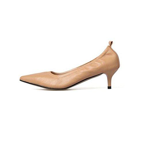YIXINY Pumps Damenschuhe Süß High Heels Spitz Flacher Mund Arbeit Etikette Ferse 3cm ( Farbe : Apricot color , größe : EU38/UK5.5/CN38 )