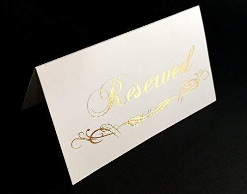 K11 Fotodesign Reserved Schilder für Hochzeit Goldfolie, 20 Stück Tischzelt, Platzkarten Heißstempelpresse doppelseitig (Platzkarte reserviert Gold)