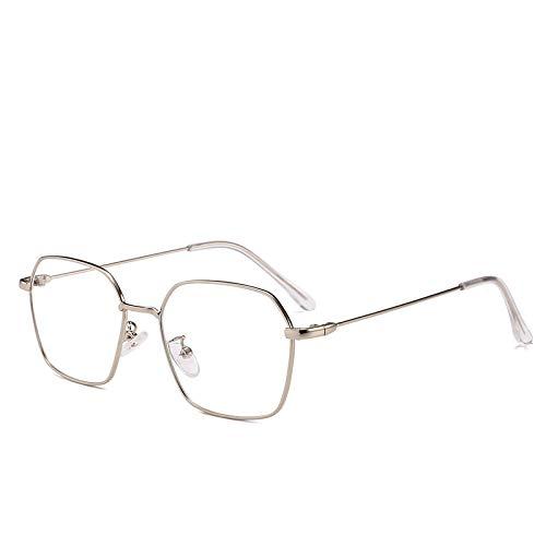 Yangjing-hl Retro unregelmäßiger polygonaler Brillen-Rahmen-Kunst wenig klarer koreanischer Straßen-Schuss Wilder Flacher Spiegel- Silber-Rahmen