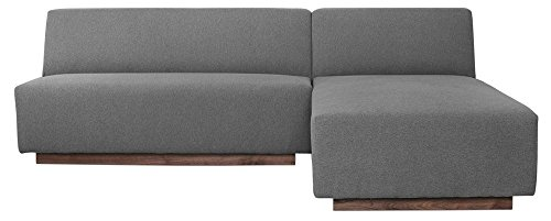 Afydecor Contemporary L shaped Sofa with Recessed Wood Base Platform (Grey)