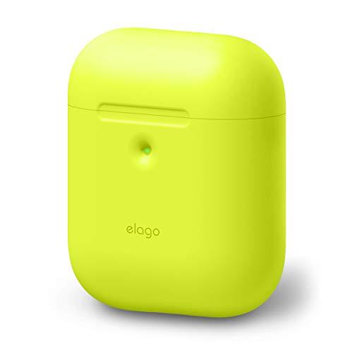 elago A2 Silikonhülle [2019 NEON Collection] Kompatibel mit Apple AirPods 2 Wireless Hülle (LED Vorne Sichtbar) - [Unterstützt kabelloses Laden] [Extra Protection] (ohne Karabiner, Neon Gelb)