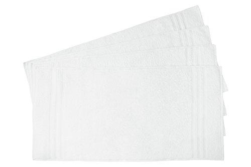"""comprare on line ZOLLNER® set di 4 pezzi d'asciugamani in pregiata spugna resistente, bianco, 50x100 cm, 100% cotone, peso ca. 550g/mq, direttamente dallo specialista per alberghi, serie """"Capri"""" prezzo"""