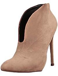 a84412ee6eca4 Minetom Donna Stivali Autunno Moda Casual Scarpe Scamosciato Tacco A Spillo  Tacchi Alti Ankle Boots Stivaletti