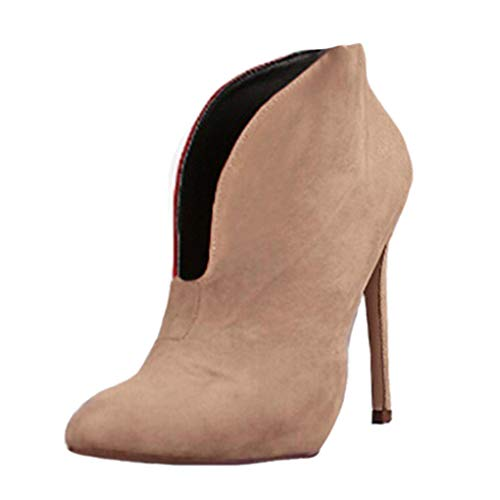 39d0df848d Minetom Mujeres Botas Sólido Gamuza Boots Moda Casual Zapatos Otoño Elegante  Bootie Attractivo Tacón Alto 12