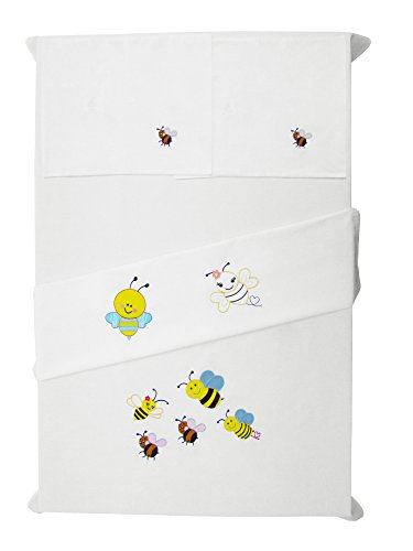 Baby Rap - Playful Bees - 2 Cot Sheets & 2 Pillow Cases - White