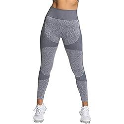 Pau1Hami1ton Sin Costura Leggins Mujer, Mallas Fitness Push Up Pantalones Deporte Running Yoga GP-15(Grey,S)