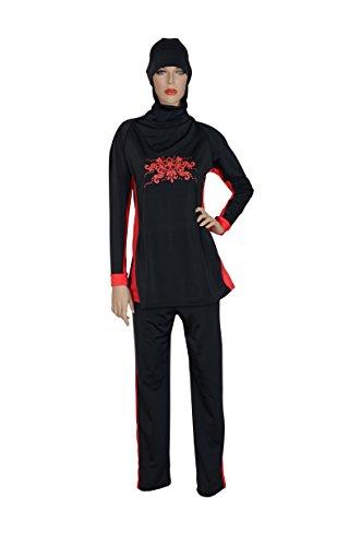 Suit Kostüm Full - Select Damen islamischen Muslim Full-Cover Kostüme zurückhaltenden Bademode Anzug, Damen, schwarz/rot