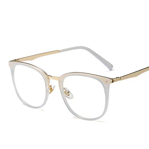 Ultralight Vintage Runde Brillengestell, Klassische Fashion Party Fake Brillen Accessoires (Farbe : White)