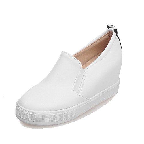 VogueZone009 Femme Tire à Talon Haut Pu Cuir Couleur Unie Fermeture D'Orteil Rond Chaussures Légeres Blanc