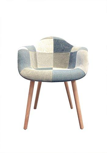 Meubletmoi Fauteuil Tissu Patchwork Bleu Beige Gris - Chaise Design scandinave - Pieds Bois - Confortable et Robuste - Azur