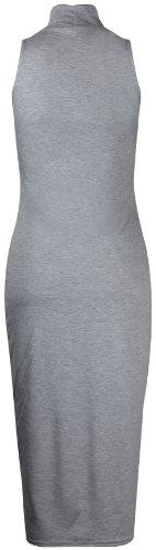 Purple Hanger - Robe Moulante Mi-Longue en Jersey Col Roulé sans Manches pour Femmes - Neuf Gris Clair