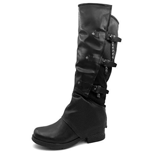 Angkorly - Damen Schuhe Oberschenkel-Boot Stiefel - Biker - Reitstiefel Kavalier - Classic - String Tanga - Nieten - Besetzt - Krokodil Blockabsatz 3.5 cm - Schwarz F75 T 39