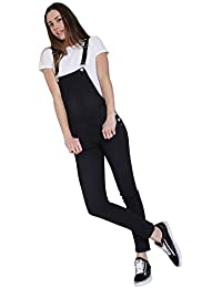 15f30e31a1 Wash Clothing Company Ladies Skinny Fit Dungarees - Black Denim Bib Overalls  Narrow Leg TALIA1BLACK