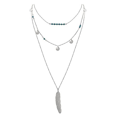 Jane Stone Bohemian Long Multilayers Tassel Turquoise Beads Metal Feather Sequins Pendant Silver Necklace for Women Jewellery